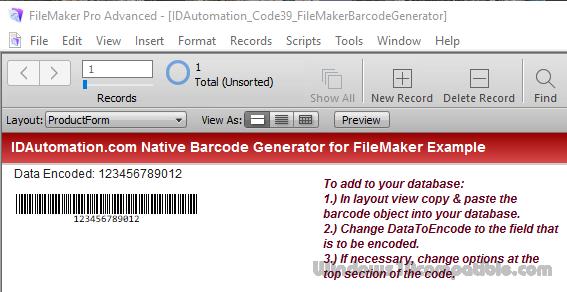 Code 39 Filemaker Barcode Generator 18 03 Free download